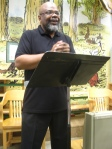 Le Hinton hosting Lancaster Poetry Exchange photo by g emil reutter