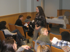 Emari DiGiorgio engages audience at Womens History Month Poetry & Prose Reading at Stockton College of New Jersey