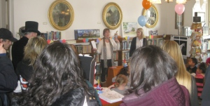 Poet in Residence Diane Sahms-Guarnieri reading the poem, A Quick Sketch of Robert W. Ryerss, at the celebration of his 183rd Birthday.