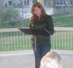 Diane Sahms-Guarnieri reads in Gorgas Park for Philly Poetry Day