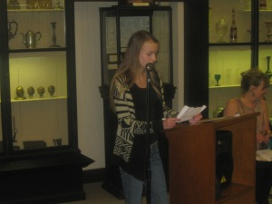 First Prize wiiner for 9th Grade Sarah Smolnicki from Saint Hubert High School reads  A Visit to Ryerss