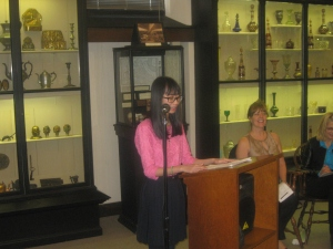 10th Grade First Prize wiinerMelissa Phung of Central High School reads her poemArab Hunter