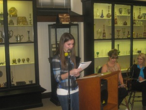 10th Grade Second Prize  winner Jessica Bachman of  First Century Gospel reads her poem