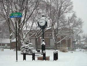 fox chase clock in snow