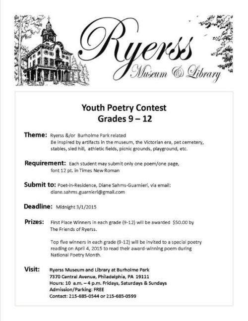 2015 - Flyer for poetry contest final