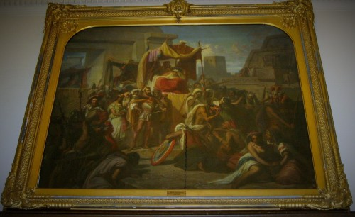 """Cortez taking Prisoner Montezuma""  by R.H. Schnider, 1856, hangs over the doorway in the 2nd Floor Gallery at Ryerss."